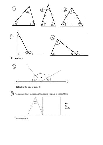 ks missing angles   triangle year    worksheet