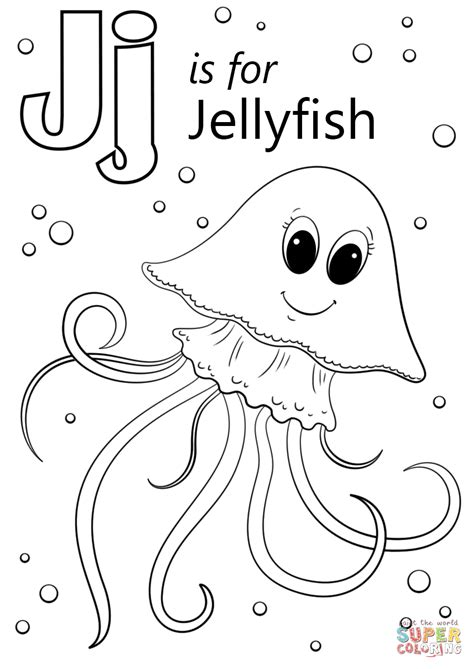 letter    jellyfish coloring page  printable