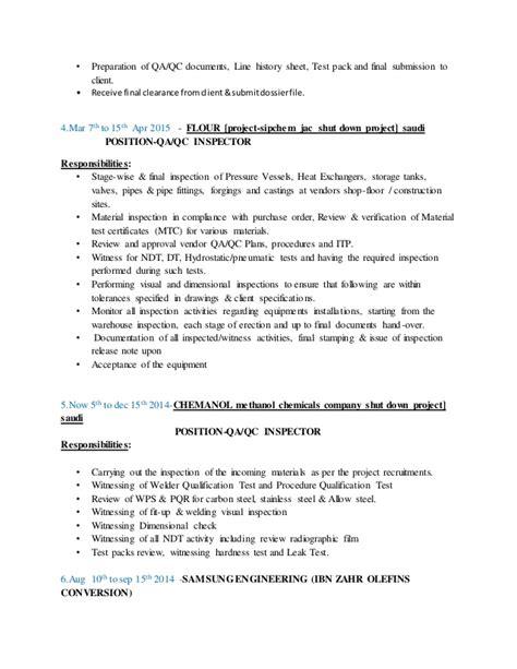 Instrument Qa Qc Inspector Cv by Qa Qc Inspector Ananda Ram Prasath V Resume