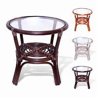 rattan end tables Leo Handmade Rattan Wicker SMALL Round Accent End Coffee ...
