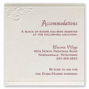 pearls and lace accommodations card invitations by dawn With wedding invitations wording for hotel accommodations
