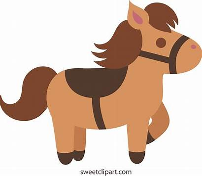 Horse Pony Clipart Clip Brown Horses Saddle