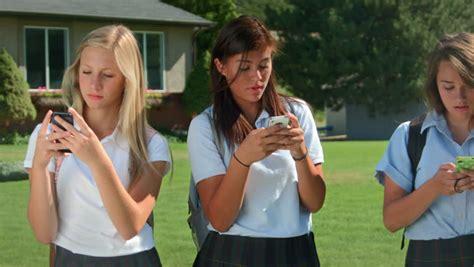 Three Pretty Uniformed Teen School Stock Footage Video Royalty Free Shutterstock