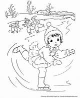 Coloring Pages Winter Stream Skating Ice Activities Christmas Fun Visit Projects Printable Adult sketch template