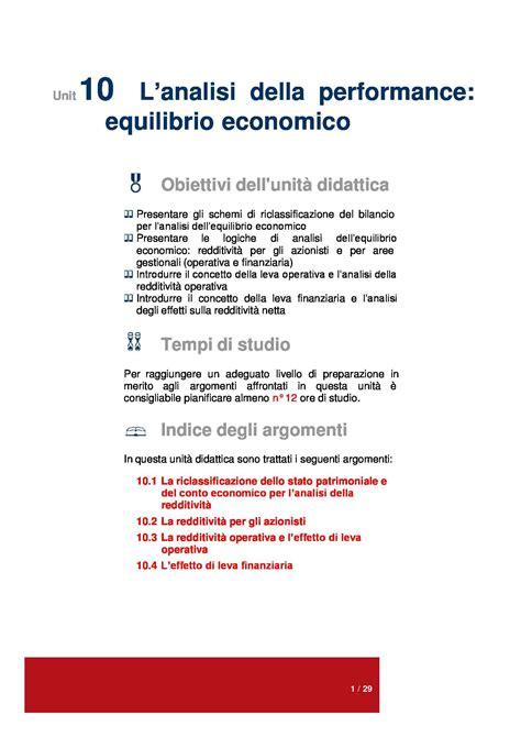 economia aziendale dispense dispensa di economia aziendale analisi della performance