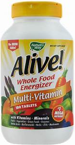 Alive  Max Potency Multivitamin  No Iron Added 180 Tablets