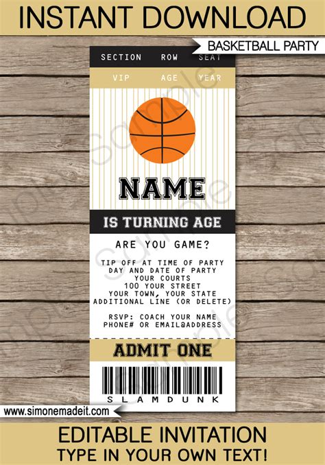 black  gold basketball party ticket invitation template