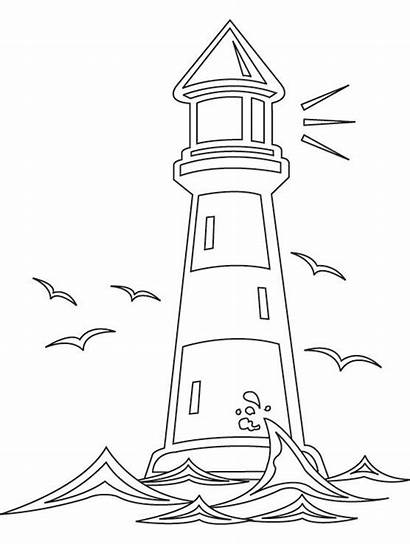 Coloring Pages Lighthouse Worksheets Printable Drawing Clipart