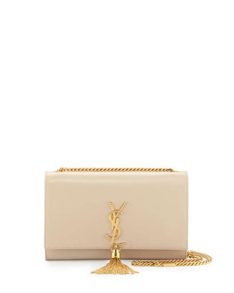 saint laurent monogram medium tassel crossbody bag beige
