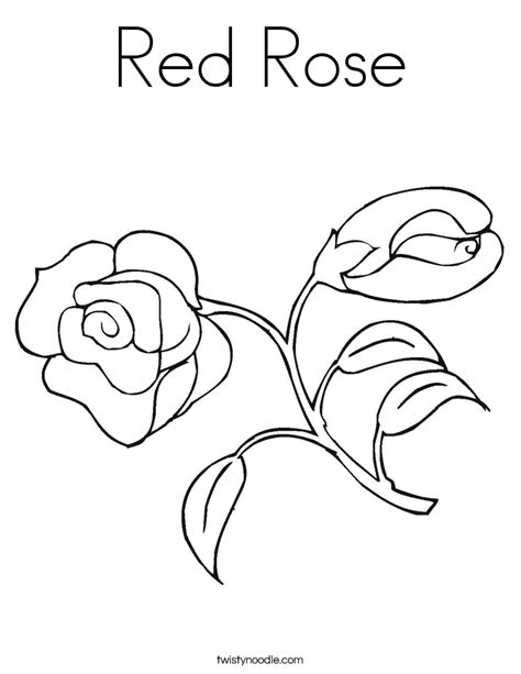 red rose coloring page twisty noodle