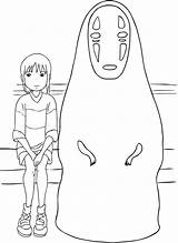 Coloring Ghibli Studio Spirited Away Chihiro Face Drawing Drawings Easy Anime Printable Totoro Para Haku Simple Incantata Character Characters Miyazaki sketch template
