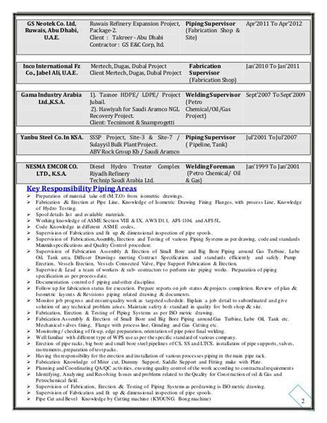 Piping Construction Supervisor Resume by 00 Resume Of Site Supervisor Pipeline Welding