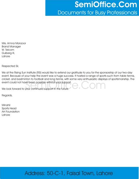 sponsorship thank you letter thank you letter for sponsorship of event 24946 | Thank You Letter for Sponsorship of Event