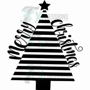 Black and White Merry Christmas Tree - 3T Xpressions