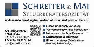 Einkommensteuer Schweiz Berechnen : schreiter mai steuerberatersoziet t 12167 berlin steglitz wegweiser aktuell ~ Themetempest.com Abrechnung
