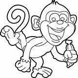 Monkey Cartoon Coloring Printable sketch template