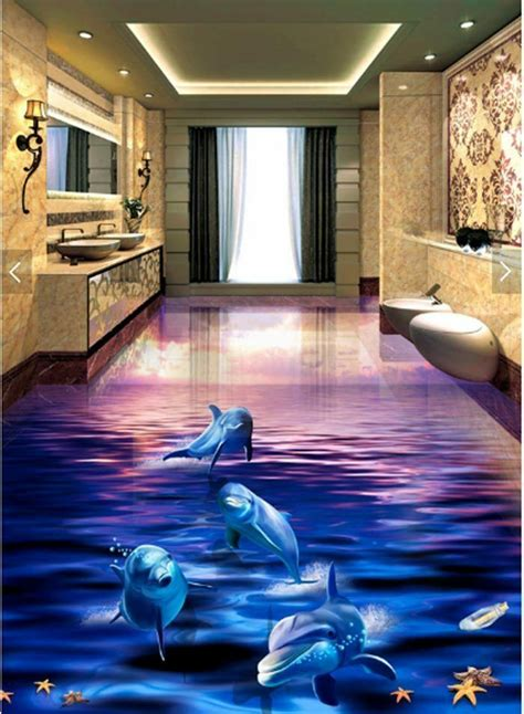 dolphin sunset ocean floor mural photo flooring