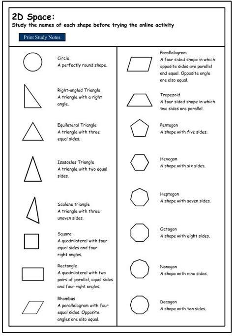 Description Of 2d Shapes Geometry Pinterest Shape
