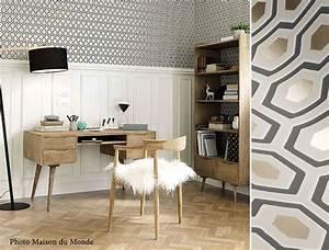 Papier Peint Bureau : des papiers peints g om triques pour un bureau blog au ~ Melissatoandfro.com Idées de Décoration