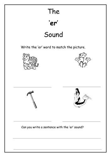 phonics er sound worksheet  laurenstuart teaching