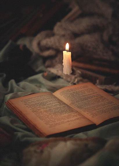 Aesthetic Animated Cinemagraph Books Candles Halloween Winter