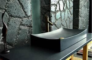 Grande Vasque À Poser : grande vasque en pierre noire to ji shadow poser 70x40 black granit living 39 roc ~ Melissatoandfro.com Idées de Décoration
