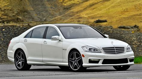 White Mercedes-benz S65 Amg In The Park Wallpapers And
