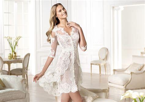 Informal Casual Modern High Low Short Sleeve Lace Wedding