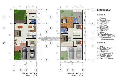 denah rumah  lantai ukuran tanah    meter inspirasi