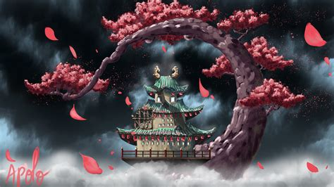 wano temple  ultra hd wallpaper background image