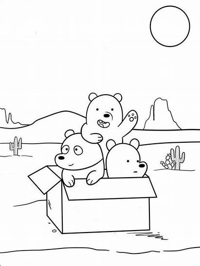 Bears Bare Coloring Colouring Bear Pages Cartoon