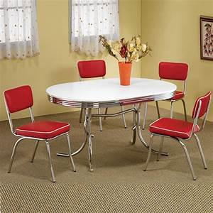 Retro 195039s Oval Table Red Black Cushion Chair 5 PC