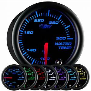 Glowshift 52mm Black 7 Color Led Water Coolant Temperature