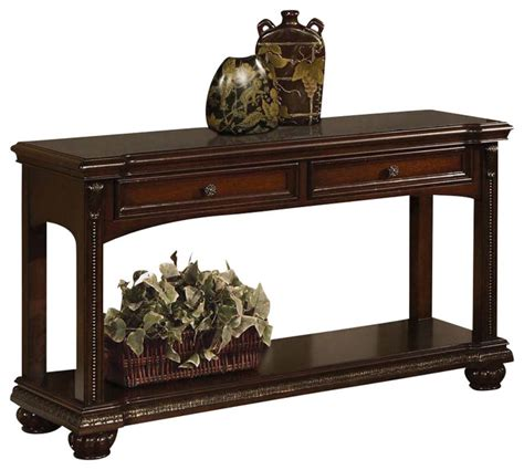 sofa table with bottom shelf transitional cherry 2 drawer accent sofa console table w