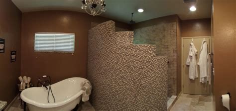 curved shower wall  glass  stone mosaic tile