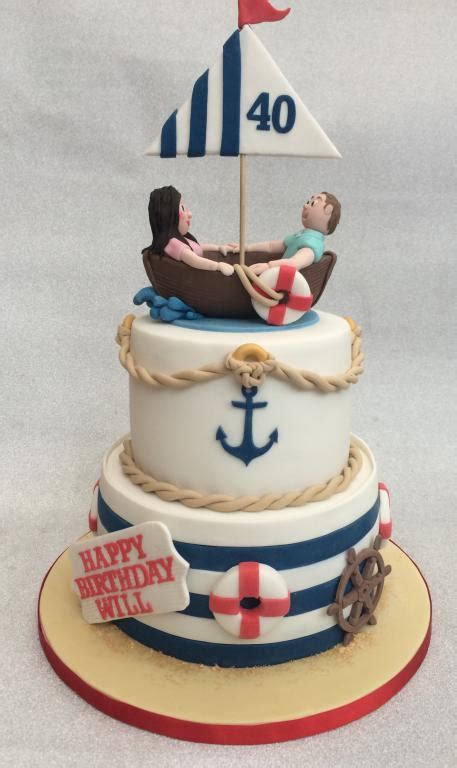 Boat Birthday Cake by Nautical Boat Cake Cake Creations