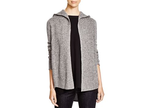 Eileen Fisher Organic Cotton Hooded Cardigan In Gray
