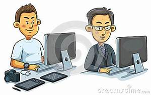 Man Working On Computer Stock Vector - Image: 39853975