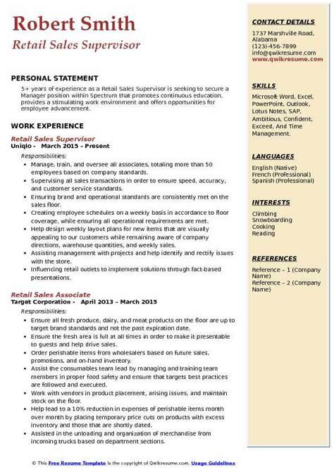 retail sales supervisor resume samples qwikresume
