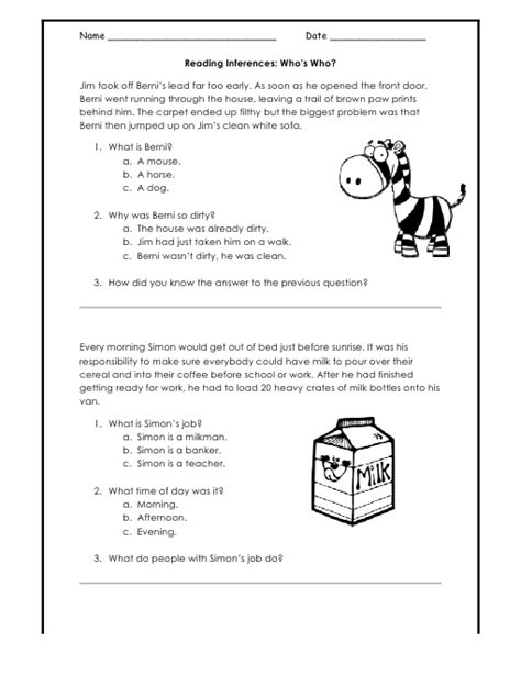 Inference Worksheet Reading Comprehension Worksheets For All  Download And Share Worksheets