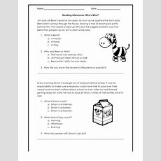 Reading Comprehension Inferences Worksheets  Mreichert Kids Worksheets