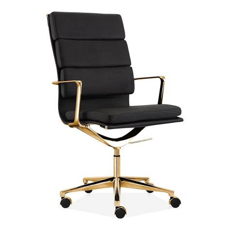 chaise bureau moderne cult living black and gold high back pad office chair