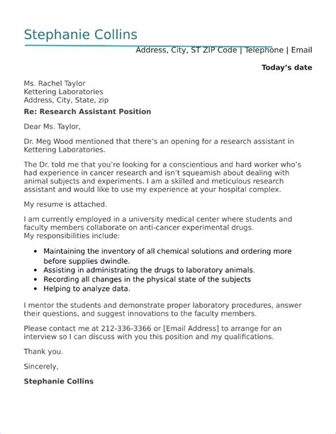 Sle Research Assistant Cover Letter by Copywriter Cover Letter Sle