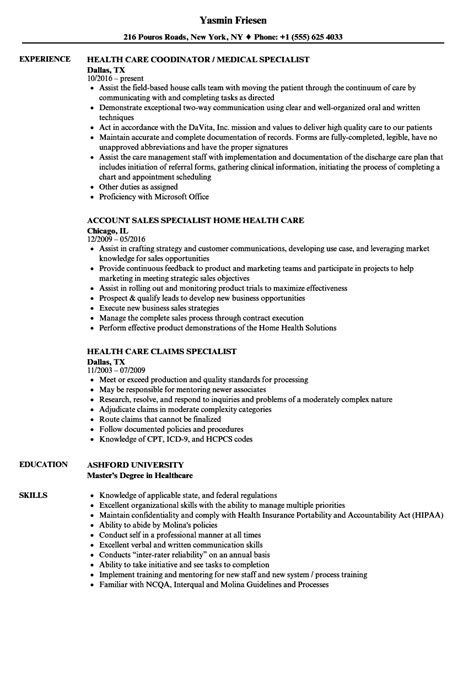 Exle Of Healthcare Resume by Sle Resume For Health Insurance Specialist Health