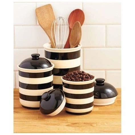 black  white striped canisters kitchen kitsch