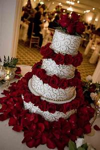 red and silver wedding cake | Green Weddings