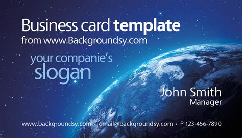 blue earth  space business card template backgroundsycom