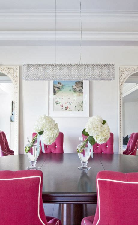 hot pink tufted dining room chairs white piping      cool conference room