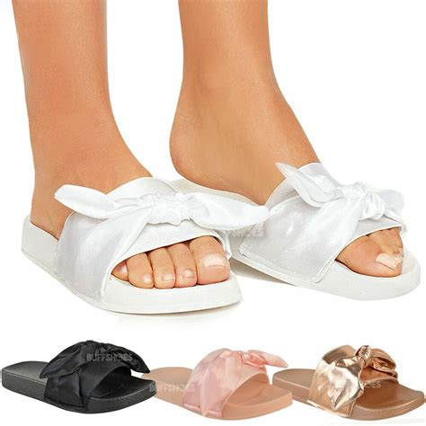 womens ladies bow sliders sandals flat comfy