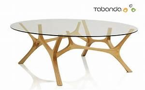 Table Basse Pied Bois : table basse plateau verre pied bois table basse carr e ~ Teatrodelosmanantiales.com Idées de Décoration